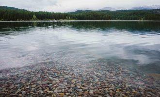 Clear lake in Whitefish, Montana