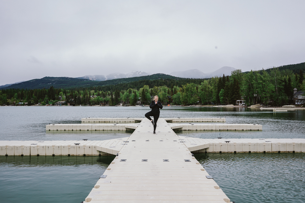 Yoga in Whitefish on lake
